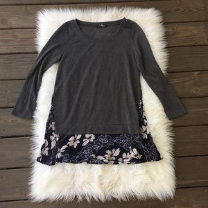 THML Gray Floral Lace Sweater Top
